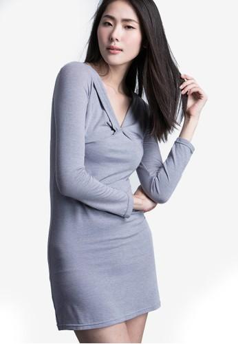 Kodz grey V Neck Bodycon Dress D48D1AA46695B3GS_1