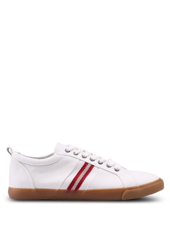 Topman white White Canvas Stripe Trainers 59D1DSHF530A47GS_1