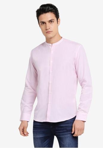ZALORA pink Slim Fit Mandarin Collar Stripe Long Sleeve Shirt 03D4DAA5E12427GS_1