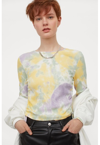 H&M yellow and multi Drawstring Top 3DCEEAA3BA39A0GS_1