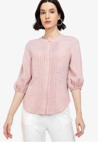 ZALORA WORK pink Pintuck Detail Puff Sleeve Blouse 1D58DAA1793C1AGS_1