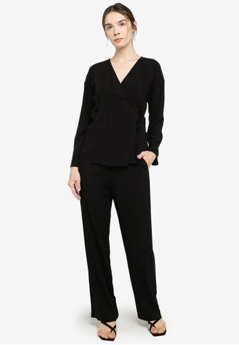 ZALIA BASICS black Wrap Top with Pants Set C33CBAAF2B4373GS_1