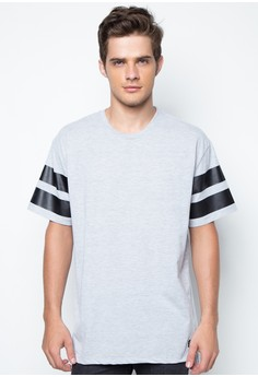 Men's Hi-Low Tee with Striped Sleeves