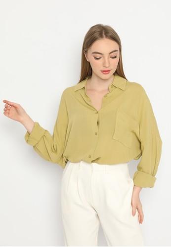 Mannequin green Flowy Textured Blouse 5E943AA95AACE9GS_1