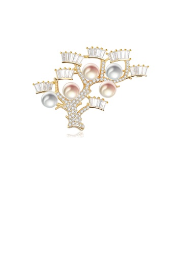 Glamorousky white 925 Sterling Silver Plated Gold Fashion Elegant Tree Branch Freshwater Pearl Brooch with Cubic Zirconia 1F9AAAC2A5149EGS_1