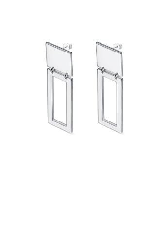 Glamorousky silver Simple Fashion Geometric Rectangle Earrings D44C6AC7A4DCC4GS_1