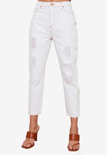 Trendyol white Ripped High Waist Mom Jeans E4461AA251CF5DGS_1