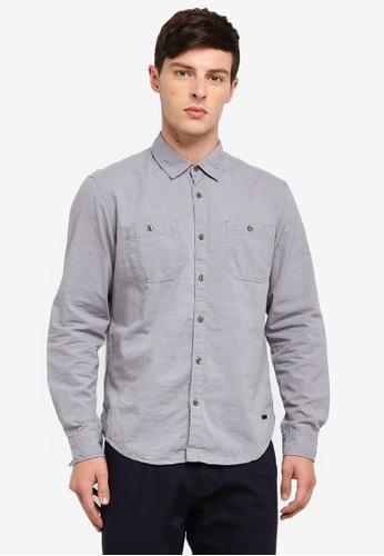 ESPRIT 藍色 長袖襯衫 89477AA1320CDBGS_1