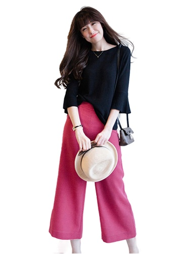 Sunnydaysweety black Collectibles New Fresh Lotus Sleeve Thin Knit Tops C0318111BK 61C1EAA09CEB8BGS_1