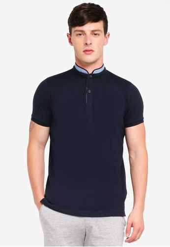 Brave Soul navy Pique Polo Shirt 36541AA7C483FBGS_1
