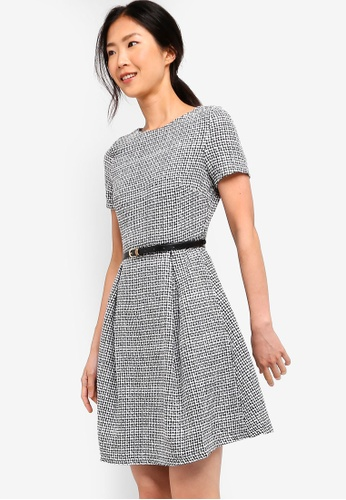 ZALORA BASICS black and multi Basic Fit And Flare Belted Dress 77894AA6F5AB0DGS_1