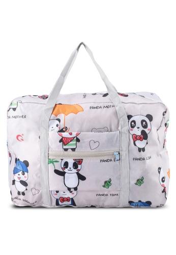 Bagstationz white Printed Foldable Travel Bag B1269AC8981598GS_1