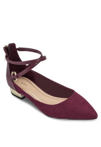 Besprit 寢具iacci 尖頭交叉繞踝平底鞋, 女鞋, 鞋