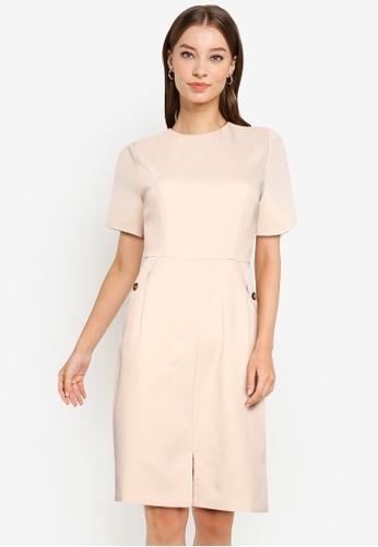 ZALORA WORK beige Short Sleeve Sheath Dress C7447AAB67A327GS_1