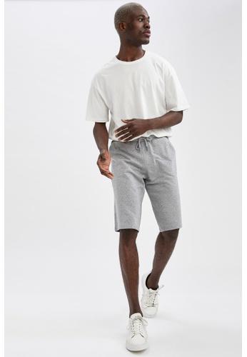DeFacto grey Regular Fit Sweatshirt Bermuda Shorts 04181AAD5778C0GS_1