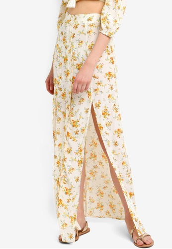 10baf5fabf16 Buy Miss Selfridge Ivory Floral Print Split Maxi Skirt Online on ZALORA  Singapore