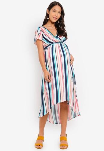 961f1ec30a5 Mama.licious orange and green and multi and navy Maternity Cubana Short  Sleeve Woven Midi