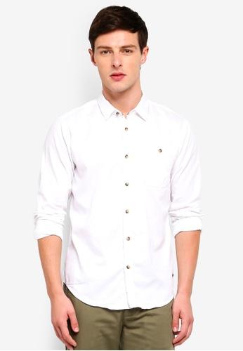 ESPRIT 白色 紋理長袖襯衫 DB244AA41C4968GS_1