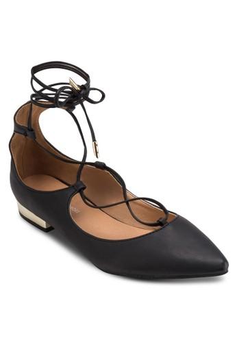 尖頭繫帶繞踝平底鞋,esprit香港分店地址 女鞋, 鞋