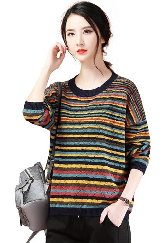 A-IN GIRLS multi Fashion Striped Crew Neck Sweater D5EBCAA71B4AF2GS_1