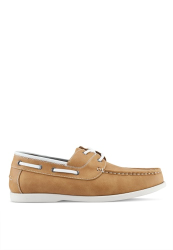 ZALORA brown Faux Leather Classic Boat Shoes 9ABEBSH8214FEEGS_1