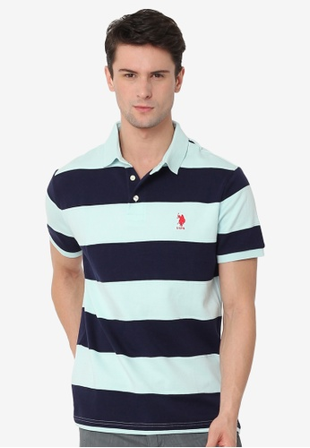 U.S. Polo Assn. green and blue Men's Basic Classic Fit Sport Polo Shirt D4E21AA243655AGS_1
