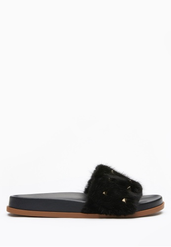 PAZZION black Studded Fur Sliders 6BB0ASH8BBFA50GS_1