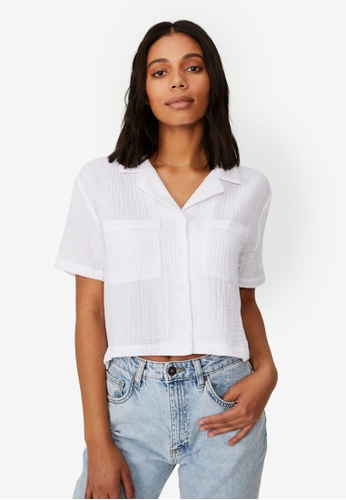 Cotton On white Erika Short Sleeve Shirt 2AA6BAA5421729GS_1
