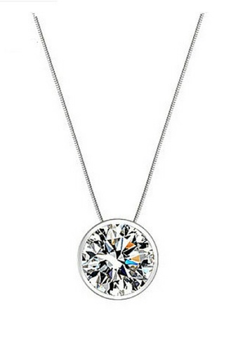 Vivere Rosse silver Bedazzling Bezel Necklace - 925 Sterling Silver VI014AC35ZUEMY_1