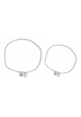 Elfi silver Elfi 925 Genuine Solid Silver Classic Bead Bracelet Anklet Set SBA-07 EL186AC36NGXMY_1