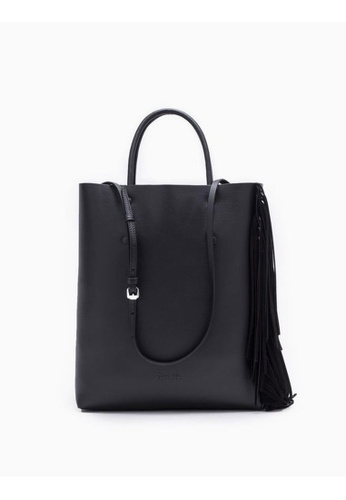 Calvin Klein black Enveloped Small Tote Bag With Fringes FD7A0ACC99D659GS_1