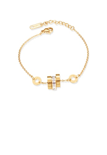 Glamorousky white Fashion Simple Plated Gold Roman Numerals Geometric Circle 316L Stainless Steel Bracelet with Cubic Zirconia 99221AC4E4A061GS_1