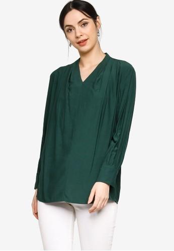 ZALIA BASICS green V-Neck Pleated Shoulder Blouse 4D612AA501273BGS_1