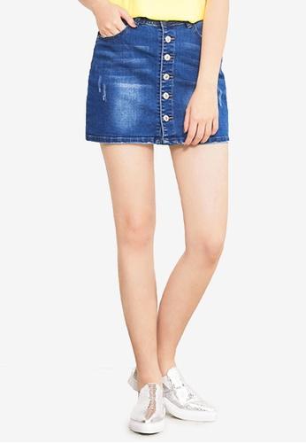 Kodz blue Buttoned Denim Skirt 0CAFFAA329CA65GS_1
