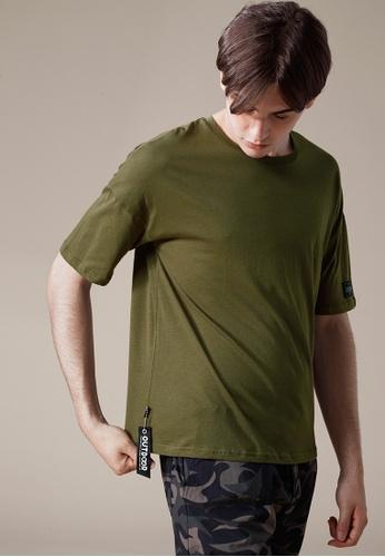Life8 綠色 Casual 輕涼純棉 多色五分袖圓領T-03868-軍綠色 LI216AA09PL8TW_1