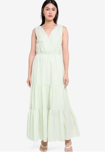 Banana Republic green Sleeveless Surplice Tiered Maxi Dress 99109AA9EB3283GS_1