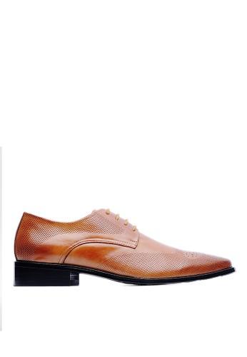 頭層牛皮。W型翼紋雕zalora退貨孔商務德比皮鞋-09197-棕色, 鞋, 皮鞋