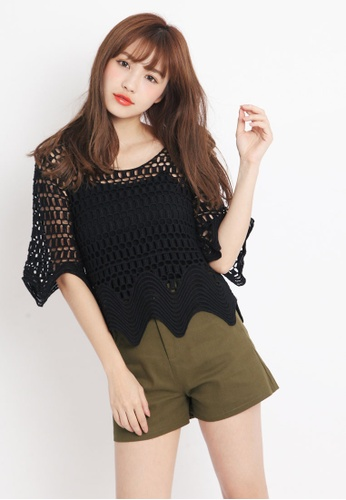 Tokichoi black Crochet Beach Blouse 0DB97AA9CAC2D0GS_1