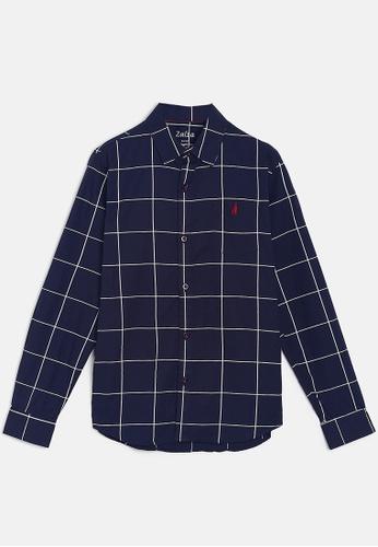 ZALZA navy Rock Rose 100% Organic Cotton Woven Boys Long Sleeve Shirt - Navy checks D06D5KADCD595CGS_1