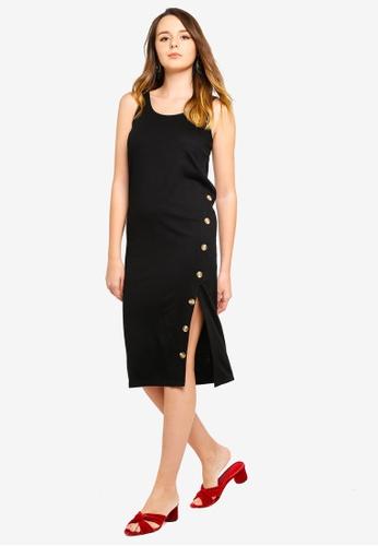 ZALORA black Button Detail Tank Tee Dress C56A9AA039CB78GS_1