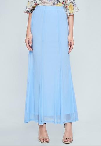 los angeles b4d12 f8be5 Era Maya blue Baby Blue Soft Pleated Maxi Skirt 6ACD4AA66C04E4GS 1