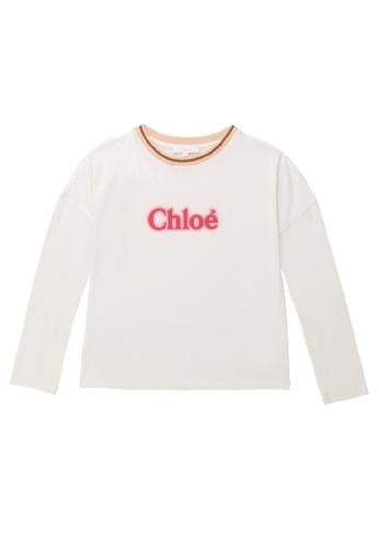 Chloé white and pink Chloé Girls Long Sleeve T-Shirt with Chloé Logo EBF23KA5150315GS_1