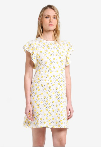 Mango white Ruffled Printed Dress MA193AA0RMK2MY_1