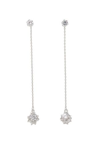 Jaysa Collection silver Elegant Palladium Crystal Cube Earrings JA875AC0GMB5SG_1