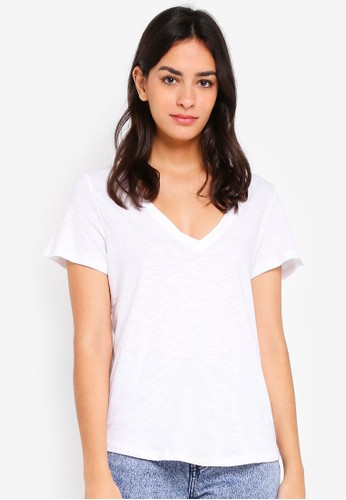 Cotton On white The Deep V Tee EF3CAAACC65251GS_1