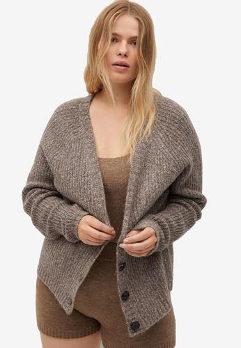 Violeta by MANGO brown Plus Size Cotton-Blend Cardigan 70E59AABC2ED4FGS_1
