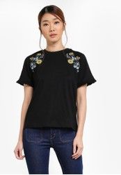 Something Borrowed black Embroidered Shoulder Tee 495E8AA4279B97GS_1