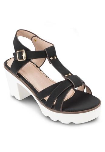 COVET Tesprit旗艦店 字帶厚底粗跟涼鞋, 女鞋, 鞋
