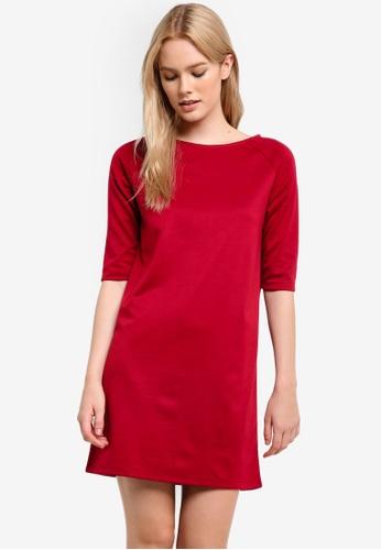 ZALORA red Basic Three Quarter Sleeve Shift Dress 35E75AAEAD92D3GS_1