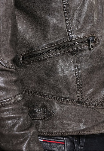 Gipsy 褐色 Raol仿舊皮革立領皮衣 1F1E7AA494205EGS_1